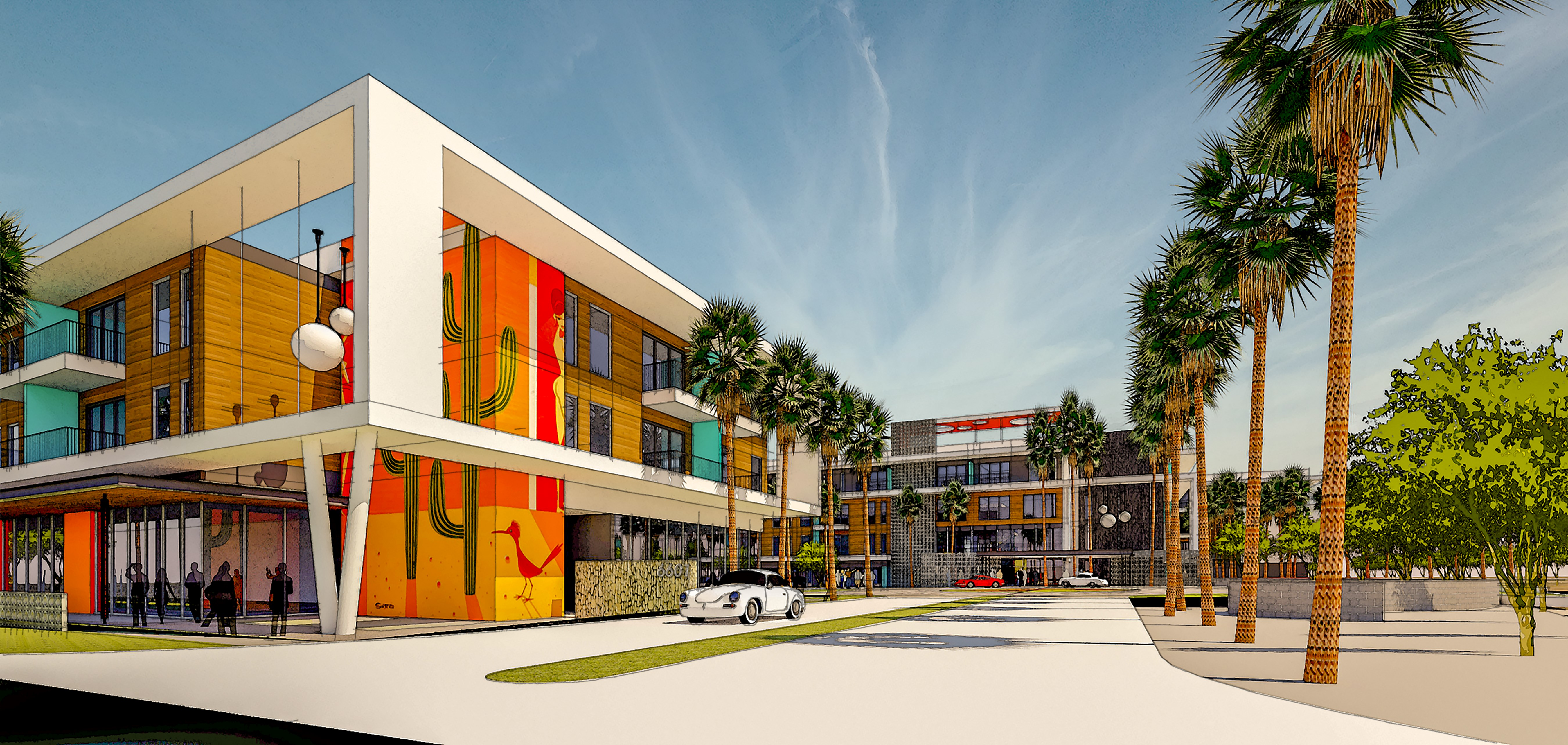 Colorful exterior rendering